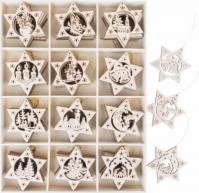 Ornamente Brad Din Lemn Star Droves 7 Cm