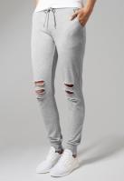 Pantaloni casual cu taieturi la genunchi pentru Femei gri Urban Classics
