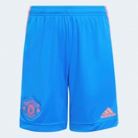 Pantaloni scurti adidas Manchester United Away 2021 2022 pentru copii albastru