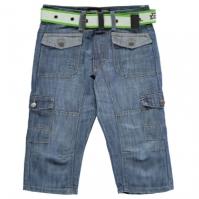 Pantaloni scurti blugi No Fear cu curea Cargo Below The Knee pentru baietei