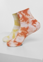 Set de 2 Sosete scurte cu imprimeu Tie Dye portocaliu-galben Urban Classics