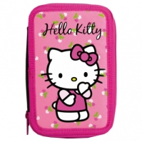 Penar Scoala Echipat Dublu(2 Compartimente) Fete Hello Kitty