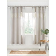 Perdele gri and Willow Coast Embroidered Voile Pair 145X180cm