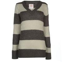 Pulovere tricotate Lee Cooper Essential cu dungi cu decolteu in V pentru Femei