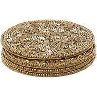 Set Biba Gold Beaded Coasters of 4