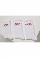 Set de 3 Sosete NASA Worm Logo alb-alb Mister Tee