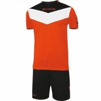 Set Givova kit echipament fotbal complet Campo negru portocaliu 2810