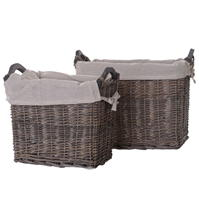 Set Hotel Collection Of 2 Rectangular Wicker Baskets