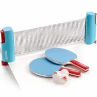 Set Meteor Sunrise Rollnet Ping Pong cu Net 2 Rackets 3 Balls albastru 15043