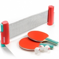 Set Meteor Sunrise Rollnet Ping Pong cu Net 2 Rackets 3 Balls rosu 15044