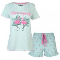 Set pijama cu pantaloni scurti Rock and Rags Frill pentru Femei
