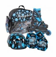Set Role Pentru Copii Casca Protectie Genunchiere Cotiere Manusi Geanta Tempish Skate