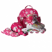 Mergi la Set Rucsac Casca Patine cu rotile PW 116AF ,,protection Kit,, roz Kiddy Mechanics
