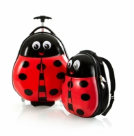 Set Troler Abs Copii Si Ghiozdan Fete Ladybug Buburuza 46cm Heys