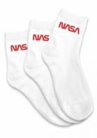 Sosete NASA Worm Logo alb Mister Tee