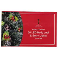 Spiritul Craciunului 60 LED Holly Leaf and Berry Lights