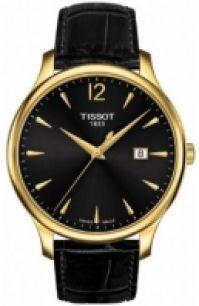 Tissot Mod Chemin Tour Tradition - Gent - Gold Pvd - Gent - din piele Strap- negru Dial