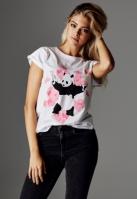 Tricou Banksy Panda Heart pentru Femei alb Merchcode