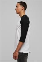 Tricou contrast cu maneci trei sferturi alb-negru Urban Classics