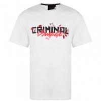 Tricou Criminal Damage Flower Text alb rosu