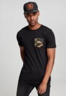 Tricou cu buzunar Camo negru-camuflaj Urban Classics