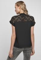 Tricou cu dantela Yoke pentru Femei negru Urban Classics