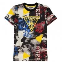 Tricou cu imprimeu Guess AOP Triangle