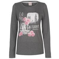 Tricou cu imprimeu Lee Cooper cu Maneca Lunga pentru Femei