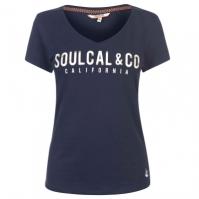 Tricou cu imprimeu SoulCal cu decolteu in V pentru Femei