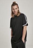 Tricou cu plasa supradimensionat Stripes negru Urban Classics