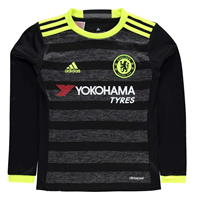 Tricou Deplasare adidas Chelsea cu Maneca Lunga 2016 2017 pentru baietei