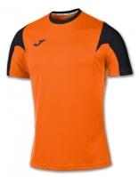 Tricou fotbal Estadio Joma Orange-negru cu maneca scurta