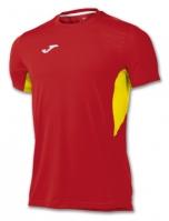 Tricou jogging Record Joma II rosu-galben cu maneca scurta
