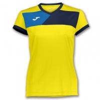 Tricou Joma Crew II cu maneca scurta galben-bleumarin pentru Femei