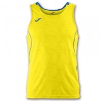 Tricou jogging Record Joma II galben-royal fara maneci