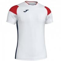 Tricou Joma sport Crew II III alb-rosu-bleumarin cu maneca scurta