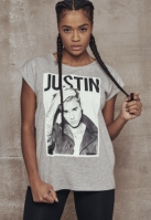 Tricou Justin Bieber pentru Femei deschis-gri Merchcode