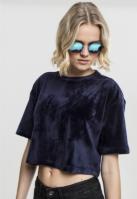 Tricou Kimono scurt tip catifea pentru Femei bleumarin Urban Classics