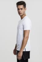 Tricou lung cu buzunar piele ecologica alb-negru Urban Classics