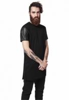 Tricou lung cu maneci piele ecologica negru-negru Urban Classics