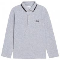Tricou Polo cu Maneca Lunga Boss clasic pentru baietei gri a32