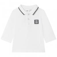 Bluza polo cu maneca lunga Boss Hugo Boss Logo alb 10b