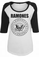 Tricou Ramones Circle pentru Femei alb-negru Merchcode
