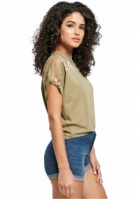 Tricou scurt larg cu dantela pentru Femei kaki Urban Classics