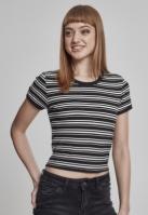 Tricou scurt Rib pentru Femei negru-alb Urban Classics