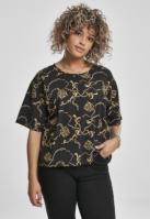 Tricou supradimensionat scurt AOP Luxury Print pentru Femei luxury-negru Urban Classics