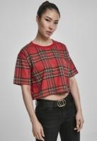 Tricou supradimensionat scurt AOP Tartan pentru Femei rosu-negru Urban Classics