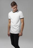 Tricou urban Ringer alb-negru Urban Classics