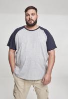 Tricouri casual in doua culori pentru barbati gri-bleumarin Urban Classics
