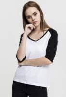 Tricouri cu maneca trei sferturi raglan alb-negru